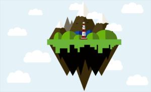 На картинке компьютерная графика - остров с высокой надземной и глубокой подземной частью