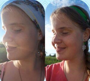 Коллаж из двух портретных фото Ольги Серебровой