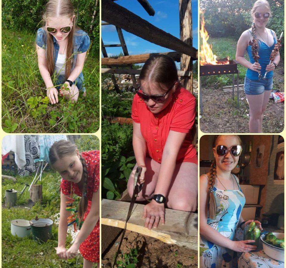 Колаж из пяти фото: Ольга Сереброва работает в огороде